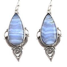 14.72cts natural blue lace agate 925 sterling silver dangle earrings r30307