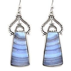 15.65cts natural blue lace agate 925 sterling silver dangle earrings r30308