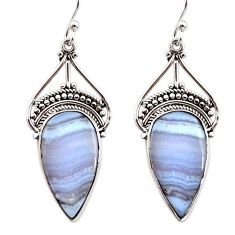 15.10cts natural blue lace agate 925 sterling silver dangle earrings r30310