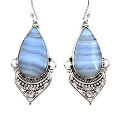 16.18cts natural blue lace agate 925 sterling silver dangle earrings r30311