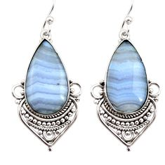 16.20cts natural blue lace agate 925 sterling silver dangle earrings r30312