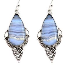14.18cts natural blue lace agate 925 sterling silver dangle earrings r30315