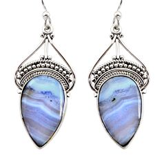 15.08cts natural blue lace agate 925 sterling silver dangle earrings r30318