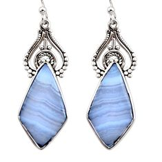 14.23cts natural blue lace agate 925 sterling silver dangle earrings r30319