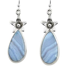 16.28cts natural blue lace agate 925 sterling silver dangle earrings r45313