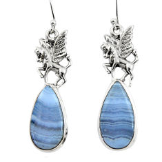 18.31cts natural blue lace agate 925 sterling silver dangle earrings r45315