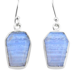 12.10cts natural blue lace agate 925 sterling silver dangle earrings t3665