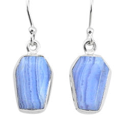 9.84cts natural blue lace agate 925 sterling silver dangle earrings t3666