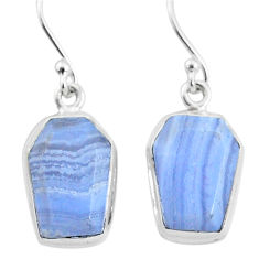 10.76cts natural blue lace agate 925 sterling silver dangle earrings t3669