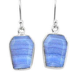 11.11cts natural blue lace agate 925 sterling silver dangle earrings t3670