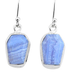 9.75cts natural blue lace agate 925 sterling silver dangle earrings t3694