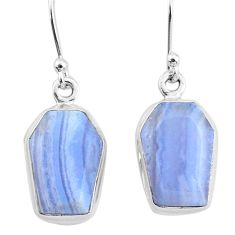 10.33cts natural blue lace agate 925 sterling silver dangle earrings t3695