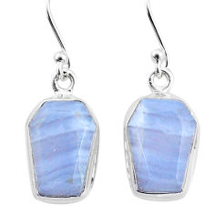 9.84cts natural blue lace agate 925 sterling silver dangle earrings t3698