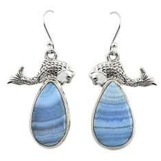 19.92cts natural blue lace agate 925 sterling silver fish earrings r45316