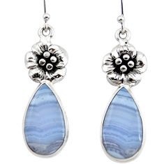 19.48cts natural blue lace agate 925 sterling silver flower earrings r45311