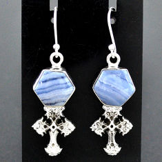 9.63cts natural blue lace agate 925 sterling silver holy cross earrings r96782