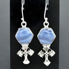 10.35cts natural blue lace agate 925 sterling silver holy cross earrings r96783