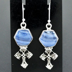 10.06cts natural blue lace agate 925 sterling silver holy cross earrings r96786