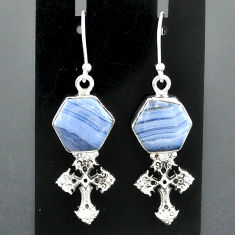 10.02cts natural blue lace agate 925 sterling silver holy cross earrings r96788