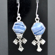 9.71cts natural blue lace agate 925 sterling silver holy cross earrings r96789