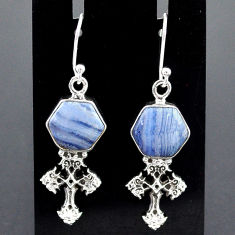 10.01cts natural blue lace agate 925 sterling silver holy cross earrings r96803