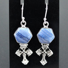 9.42cts natural blue lace agate 925 sterling silver holy cross earrings r96806