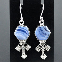 10.37cts natural blue lace agate 925 sterling silver holy cross earrings r96808
