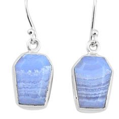 9.80cts natural blue lace agate 925 silver handmade dangle earrings t3713
