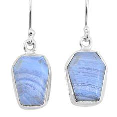 9.82cts natural blue lace agate 925 silver handmade dangle earrings t3714