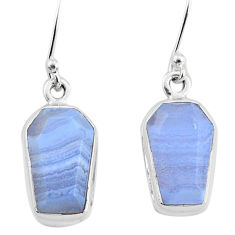 9.27cts natural blue lace agate 925 silver handmade dangle earrings t3715