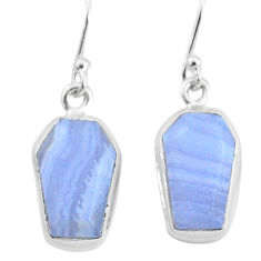 10.28cts natural blue lace agate 925 silver handmade dangle earrings t3717