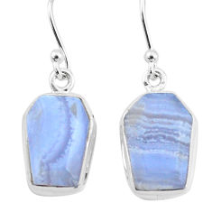 9.84cts natural blue lace agate 925 silver handmade dangle earrings t3718