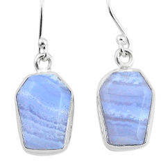 9.73cts natural blue lace agate 925 silver handmade dangle earrings t3719
