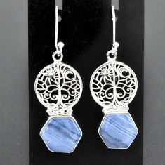 9.65cts natural blue lace agate 925 sterling silver tree of life earrings r96791