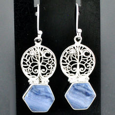 9.65cts natural blue lace agate 925 sterling silver tree of life earrings r96792