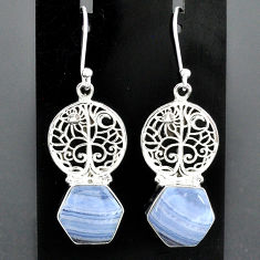 9.74cts natural blue lace agate 925 sterling silver tree of life earrings r96793