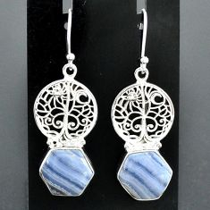 9.66cts natural blue lace agate 925 sterling silver tree of life earrings r96794