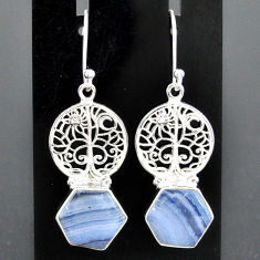9.98cts natural blue lace agate 925 sterling silver tree of life earrings r96798