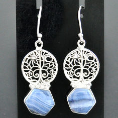 9.42cts natural blue lace agate 925 sterling silver tree of life earrings r96799