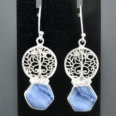 9.96cts natural blue lace agate 925 sterling silver tree of life earrings r96811