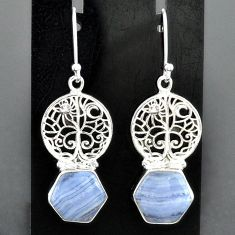 9.88cts natural blue lace agate 925 sterling silver tree of life earrings r96812