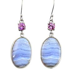 16.49cts natural blue lace agate amethyst 925 silver dangle earrings d39541