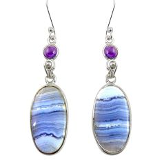 18.73cts natural blue lace agate amethyst 925 silver dangle earrings d39542