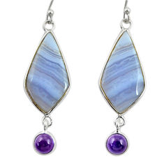 14.17cts natural blue lace agate amethyst 925 silver dangle earrings r28922
