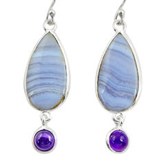 15.34cts natural blue lace agate amethyst 925 silver dangle earrings r28925