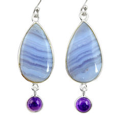 17.53cts natural blue lace agate amethyst 925 silver dangle earrings r28926