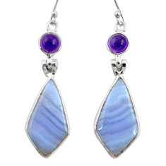 14.25cts natural blue lace agate amethyst 925 silver dangle earrings r28928