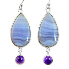 16.88cts natural blue lace agate amethyst 925 silver dangle earrings r28931