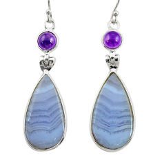 15.34cts natural blue lace agate amethyst 925 silver dangle earrings r28932