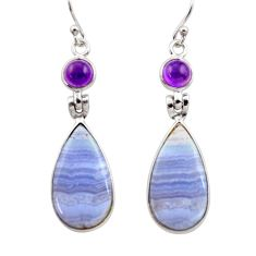 16.50cts natural blue lace agate amethyst 925 silver dangle earrings r30410
